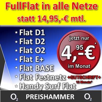 Allnet Flat o2 on S nur 4,95 mtl.* statt 14,95 Flat in alle Netze + Internet TOP