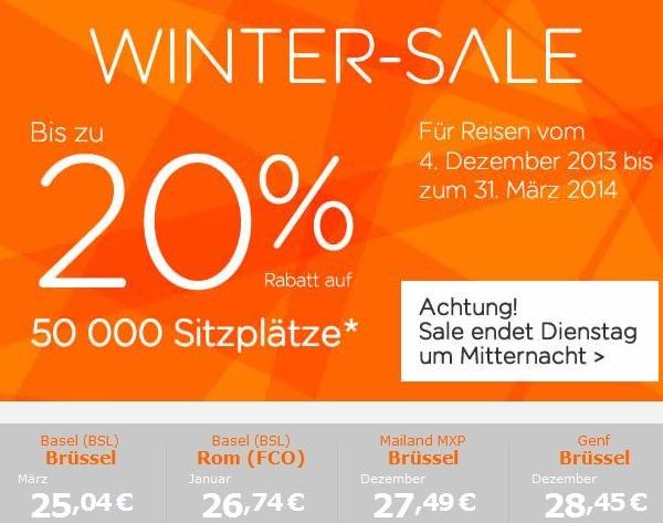 20% auf Flüge bei easyjet (Reisezeitraum: 4.12.2013 - 31.03.2014)