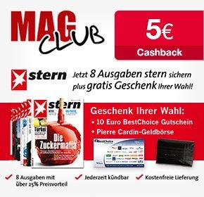 8 (bei Bankeinzug 10) Ausgaben stern für 19,90€- 10€ BestChoice-Gutschein+ 5€ Cashback