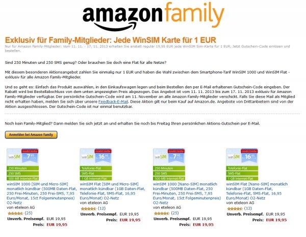 [Amazon Family] WinSIM Flat oder 1000 für einmalig 1€