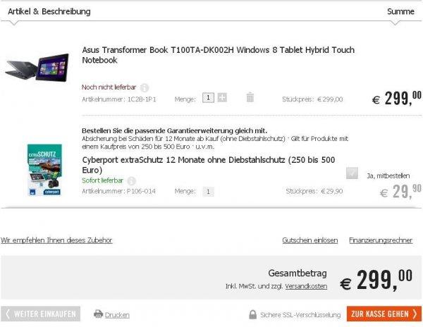 [lokal Berlin] ASUS Transformer Book T100TA-DK002H für 299,- EUR @cyberport Steglitz inkl. Jahresabo ePaper (idealo ab 379,- EUR)