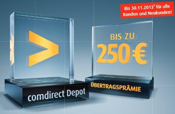 comdirect Depotübertrag mit bis zu 250 Euro Prämie