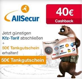 AllSecur: 40€ Cashback von Qipu + 50€ Tankgutschein = 90€ für Wechsel!