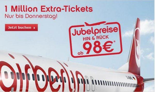 Airberlin Jubelpreise (Reisezeitraum 01.12.2013 – 31.05.2014)