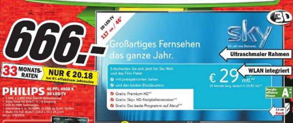 [MM Bremen]  Philips 46PFL4908K/12 117 cm (46 Zoll) 3D LED-Backlight-Fernseher, EEK A++ (Full HD, 200Hz PMR, DVB-T/C/S/S2, CI+, WiFi, Smart TV, HbbTV) schwarz