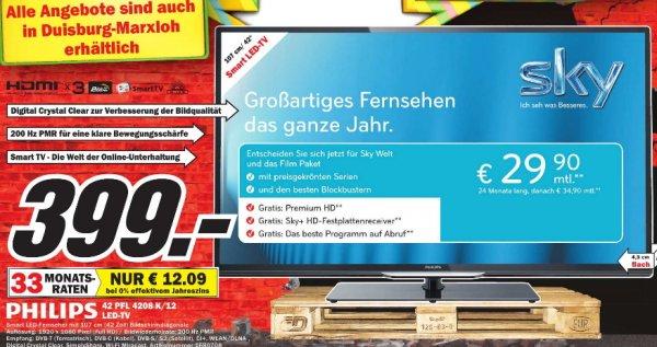 [MM Duisburg]   Philips 42PFL4208K/12 107 cm (42 Zoll) LED-Backlight-Fernseher, EEK A+ (Full HD, 200Hz PMR, DVB-T/C/S2, CI+, WLAN, Smart TV, HbbTV) schwarz 399€