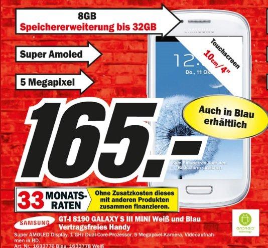 [Mediamarkt Neuss] Samsung Galaxy S3 Mini 165 Euro (Verschiedene Farben)