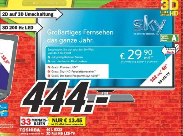 [Mediamarkt Mülheim Lokal] Toshiba 40L5333DG 3D 444€