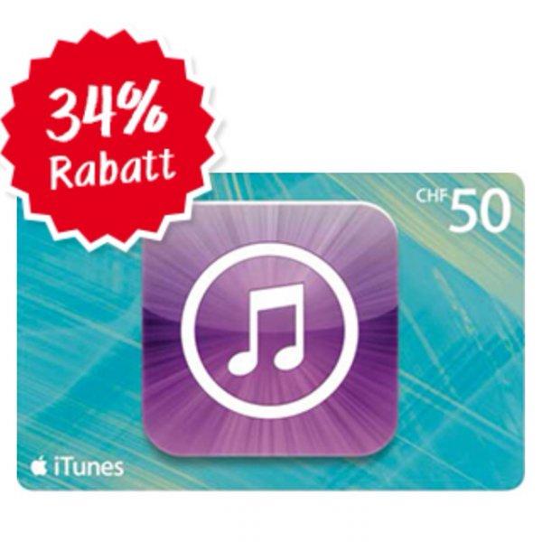 [Schweiz online] Apple - iTunes Karten - 50 CHF für 33 CHF - 34% Rabatt !!!