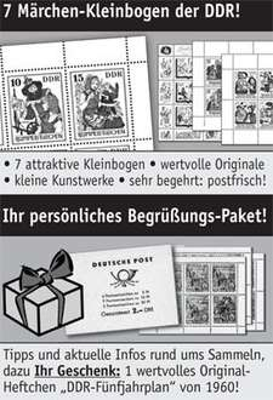 [Deutscher Philatelie Service] Gratis-Briefmarkenset DDR Märchen und 5-Jahresplan