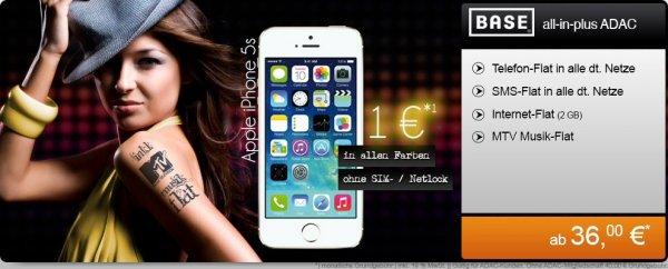 Iphone 5s 16gb für 1€ mit Base all-in Plus für 36€ monatlich als ADAC-Mitglied