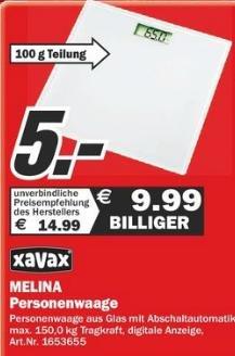 [Lokal] MM Schleswig -  Xavax Melina Glas- Personenwaage für  5€