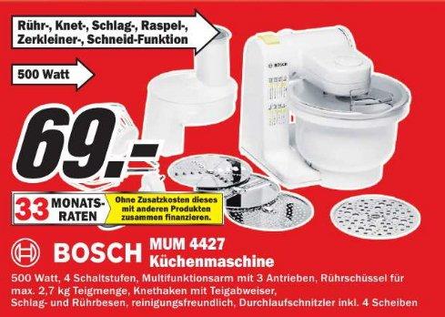 [MM Zella-Mehlis ]  Bosch MUM4427 Küchenmaschine MUM4  500 Watt weiß 69€