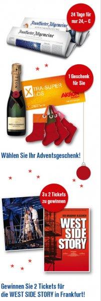Frankfurter Allgemeine u. Sonntagszeitung für 24 Tage plus Geschenk für 24,00€