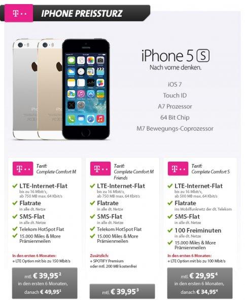 [Sparhandy] Telekom Complete (S/M/M Friends) incl. iPhone 5s AB 937,75€ für 2 Jahre