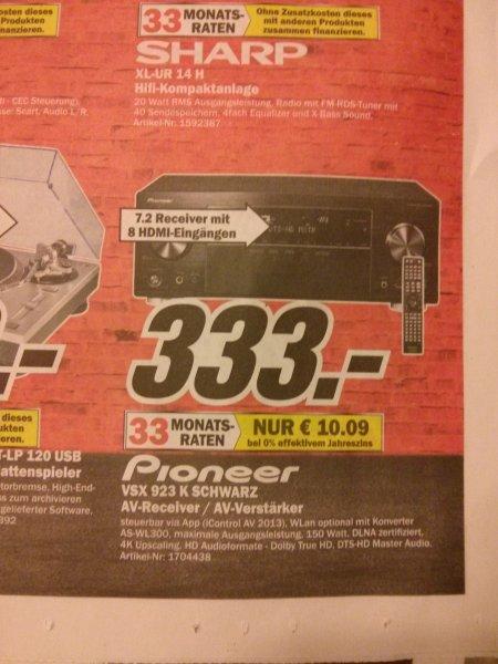 [Lokal Media Markt Erlangen]Pioneer VSX 923 7.2 AV-Receiver