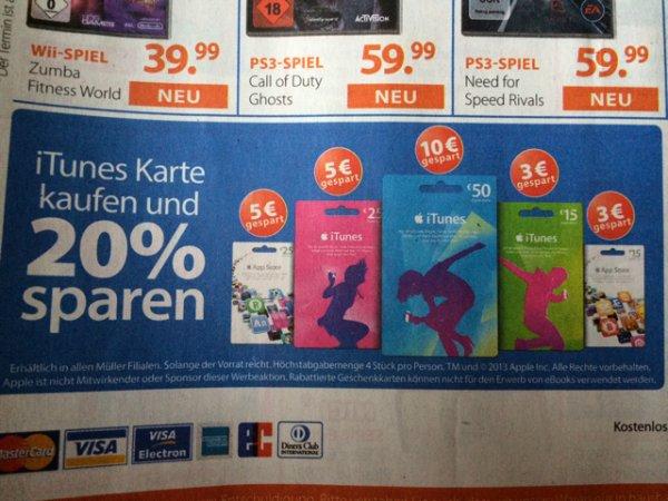 20% auf ITunes Karten z.B. 50€ für 40€