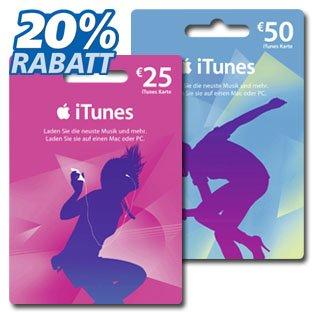 bei real 20 % Rabatt auf 25 € und 50 € iTunes-Guthaben-Karten