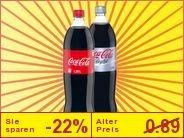 im Lidl ab Mo 18.11.: Coca Cola: Classic, Light und Zero à 0,69 €  je 1,25 l
