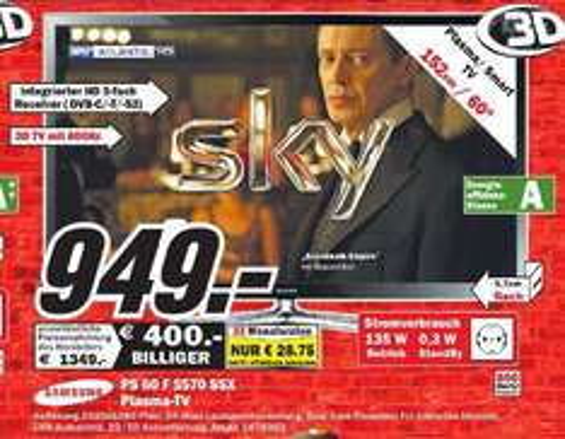[MM Neubrandenburg ]     Samsung PS60F5570 152 cm (60 Zoll) 3D-Plasma-Fernseher, EEK A (Full HD, 600Hz Subfield Motion, DVB-T/C/S2, CI+, WLAN , Smart TV, HbbTV) schwarz  949€
