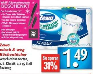 E-Center evtl. bundesweit: ZEWA wisch und weg kaufen + WMF Allzweckmesser gratis