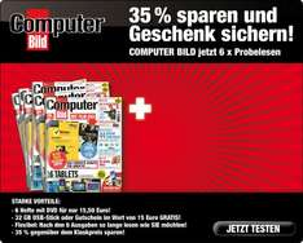 6x Computerbild mit DVD (bei Bankeinzug 8 Hefte) für 15,50€ incl. 15€ Amazon oder itunes Gutschein