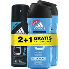 34 x Adidas After Sport 3in1 Shower Gel 250ml + 17x Adidas action 3 Fresh Deo Spray 150ml (Preis bei Neuameldung)
