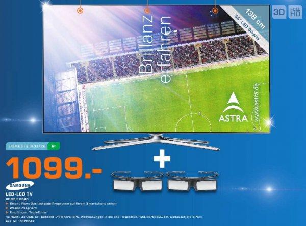 [ Saturn Herford]  Samsung UE55F6640 (3D-LED-TV, Full-HD, DVB-T/-C/-S, 600 Hz, Smart TV )  1099€