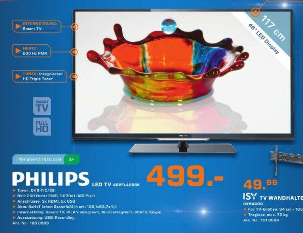 [Saturn] Philips 46PFL4208K/12 117 cm (46 Zoll) LED-Backlight-Fernseher, EEK A+ (Full HD, 200Hz PMR, DVB-T/C/S2, CI+, WLAN, Smart TV, HbbTV) schwarz  499€