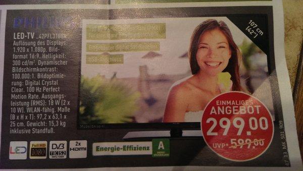 [Marktkauf Halle/Westf.] Philips 42PFL3108k LED LCD TV Triple Tuner 100Hz FullHD USB Wlan ab Do 21.11 für 299€( nächster Preis 459€)