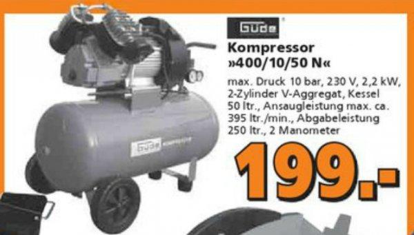 Güde Kompressor 400/10/50 N für 199,- Euro im Globus-Baumarkt Isserstedt, ggfls. bundesweit