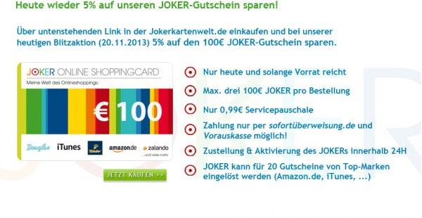 Wieder da: Joker Online Shooping Code Aktion mit 5% Rabatt - bei Geschenkgutscheinen sparen (Amazon.de, Zalando ...)