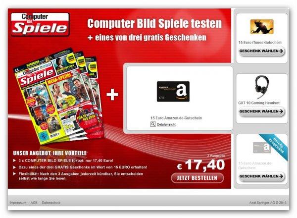 neue Aktion 3 Hefte Computerbild Spiele für 17,40 € incl. 15 € Amazon / itunes Gutschein