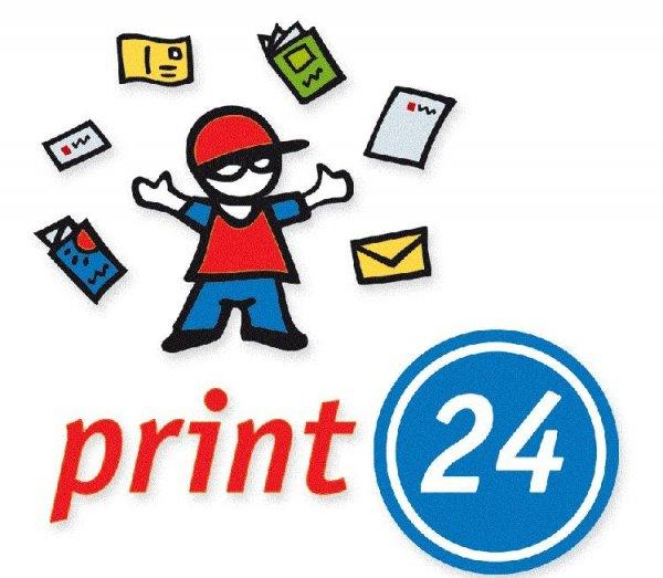250 individuell bedruckte Visitenkarten,Postkarten oder Flyer in 4c inkl. Versand für umme @print24; rückseitig Imprint mit print24-Logo