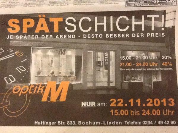 [Lokal Bochum] optikM nur am 22.11.2013 / 15-21:00Uhr 20% / 21-24:00Uhr 40% Rabatt