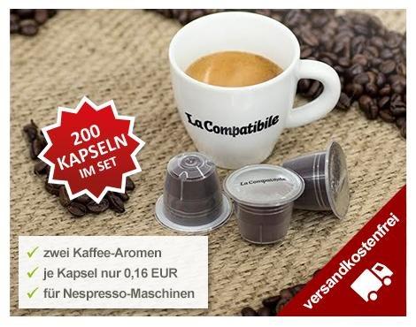 Kaffeekapseln für Nespressomaschinen (16 Cent pro Kapsel) und damit noch günstiger als Aldikapseln