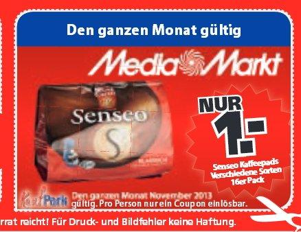*Lokal* Mediamarkt Neutraubling Senseo Kaffeepads 16er Pack für 1€ + weitere Gutscheine