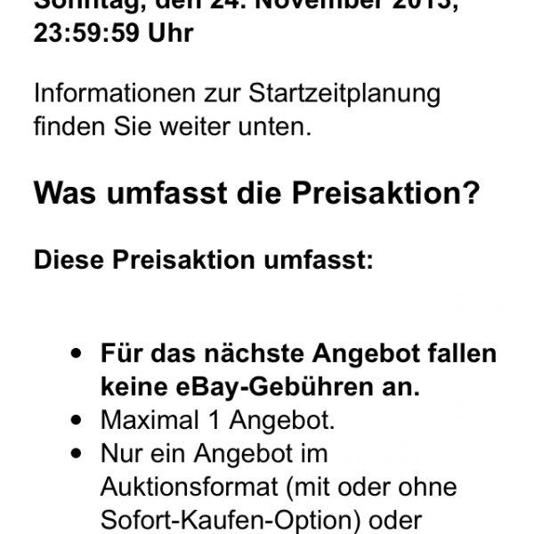 Keine eBay-Gebühren (auch keine Provision!) via App am 23./24.11.