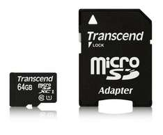 Transcend 64GB MicroSDXC Class10 UHS-1(45 MB/s) mit Adapter für 37€ @Amazon.com
