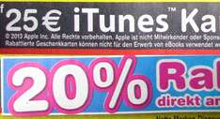 20% Rabatt auf 25€ iTunes Karten bei Netto (ohne Hund) in KW48
