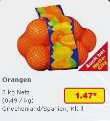 [Netto Marken Discount] Reminder aber mit Preissenkung -> 3kg Orangen Kl.2 nur am heutigen Samstag, 23.11. für 1,47€