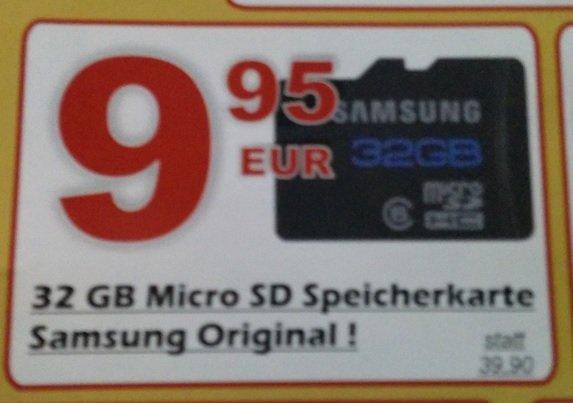 [Lokal Salzkotten] Samsung Micro SD Class 6 32GB für 9,95