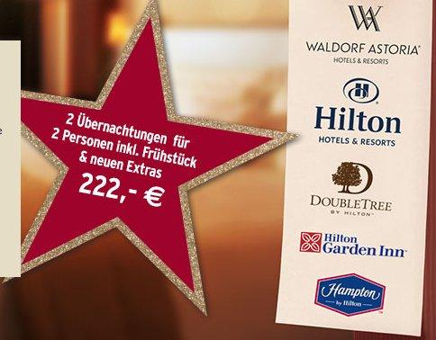 Hilton Tchibo Special 2 Übernachtungen für 2 Personen 222€
