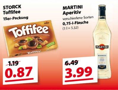 [ Familia Nordwest ]Toffifee 125gr. Packung  0,87 €  ---  Martini Aperitiv 0,75l für 3,99€