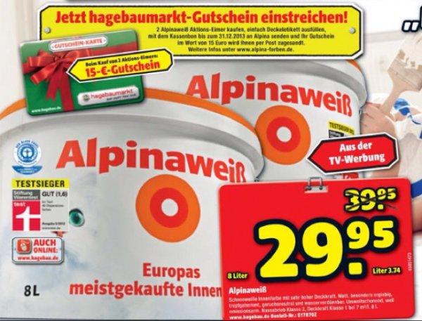 [offline hagebaumarkt] Alpina Alpinaweiß Innenfarbe (mit Katze!!) 16 Liter inkl. 15€ Gutschein für 59,90€ (rechnerisch ~2,80€/Liter)