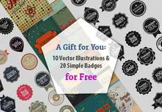 [InkyDeals.com] - 10 Vector Illustrations & 20 Simple Vector Badges