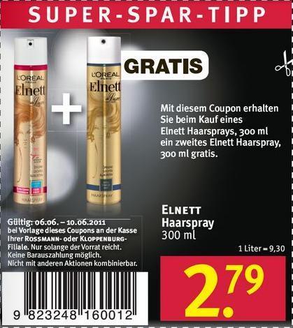 Rossmann: L'Oréal Elnett Haarspray 2x 300ml Flaschen für insgesamt 2,79€