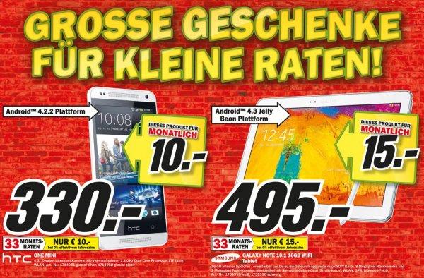 HTC One Mini 330€, Samsung Galaxy Note 10.1 2014 Edition 495€ Lokal[Mediamarkt Paderborn]