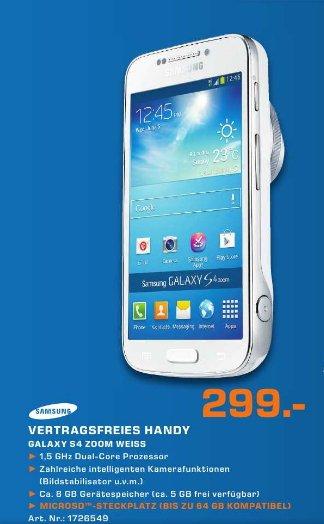 [Saturn Regensburg  ]  Samsung Galaxy S4 zoom Smartphone (10,9 cm (4,27 Zoll) Super-AMOLED-Touchscreen, 8 GB interner Speicher, 16 Megapixel Kamera, 10fach optischer Zoom, Android 4.2) weiß  299€  + 100 € Cashback für die alte Digicam