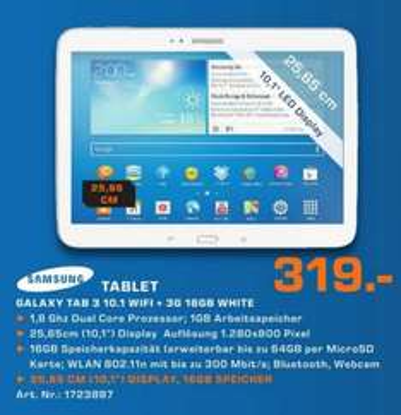 Samsung Galaxy Tab 3 10.1 16GB Wifi+3G 319€ Lokal[Saturn Regensburg]
